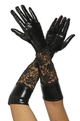 Lange Leder-Optik Handschuhe mit Spitze in schwarz -