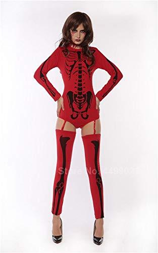 Macht Zombie Ein Kostüm Halloween - XUDSJ Halloween,Lack Kleid,hexenkostüm, Frauen Halloween Scary Kostüm Print Zombie Phantasie Sexy Horror Trikot Strumpfband Kleid Party Dekoration (Color : Red Black, Size : One Size)