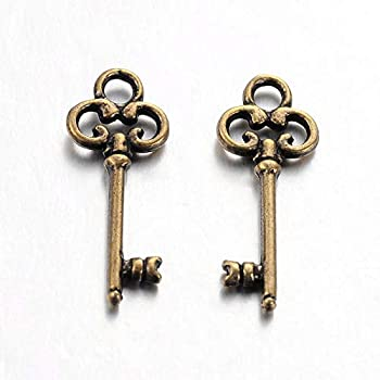 22 Antique Bronze Coloured Skeleton Key Charms 21mm x 8mm. CH033