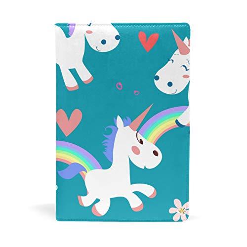 EZIOLY Cartoon Rainbow Einhorn Schmetterling Love Green dehnbarer Buchumschlag passend für die meisten Hardcover Lehrbücher bis 22,6 x 14,5 cm Einfach anzubringen. Wash & Ree - Ree Bücher
