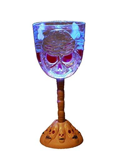 HAAC LED Gag Copa de vino con calavera Halloween parpadeante cambio de color Cambio de color tamaño 20cm x 8cm