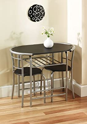 Greenhurst Compact Dining Set with Black Laminated MDF Top and Silver Powder Coated Steel Frame - cheap UK light store.