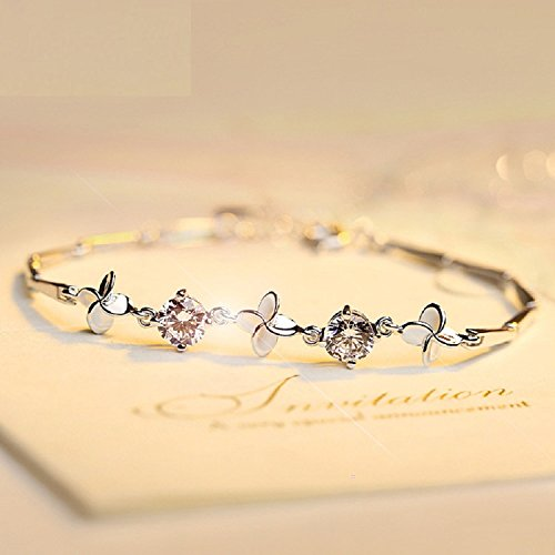 Preisvergleich Produktbild XJoel Glücksklee-Armband-Sterlingsilber-keltisches Claddagh u. Klee-Charme-Armband