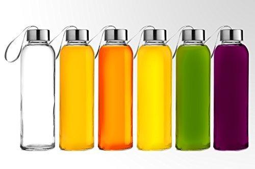 Chef \'s Star Glas Wasserflasche 6erPack Flaschen für Getränke- und Saft, Edelstahl Kappen mit Trageschlaufe