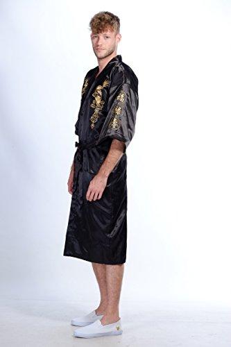 Secret Collection, Bademantel/Kimono aus Seide, Vintage-Look, Stickerei, Motiv: Drachen, Yukata Hakma Schwarz