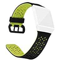 Akaddy Ventilate Porous Silicone Watch Strap Band For Fitbit Ionic Fit Sport Casual Business Wearing 220.00 * 20.00 * 2.00 Black+Green