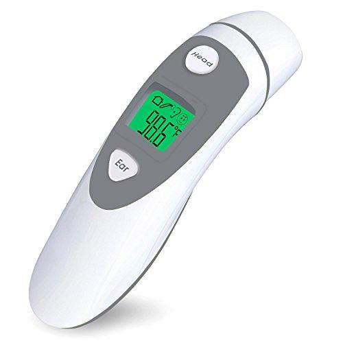 Dual-Mode-Stirn- und Ohrthermometer, keine Berührung und sofortiges Lesen Infrarot-Thermometer, CE- und FDA-Zulassung (weiß + grau)