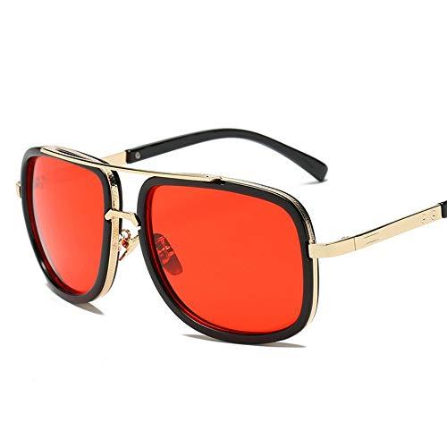 FUZHISI Sonnenbrillen Big Frame Sunglasses Men Square Brillen für Frauen Sonnenbrillen, Rot