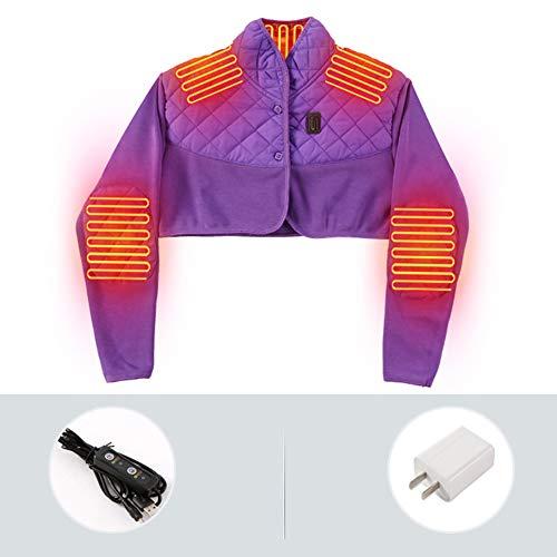 LTLGHY Beheizte Weste USB Ladegerät verstellbar in 3 Stufen Temperatureinstellung Lässt Schmerzen an der Schulter, Vorbeugung und Sportive M violett
