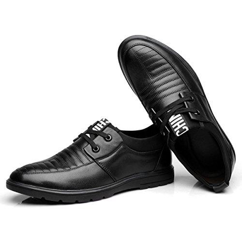 GRRONG Herrenschuhe Mode Lederschuhe Braun Schwarz Black