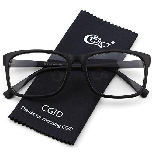 CGID CN12 Lunettes à verres transparents monture carrée fashion basiques casual Matte Black