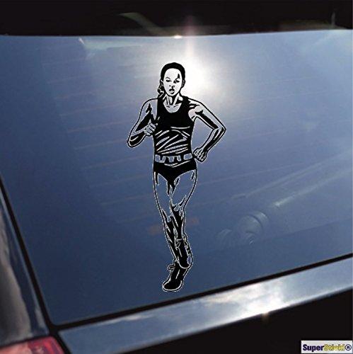 Marathon sprinten laufen Olympia Leichtathletik Aufkleber ca. 20 cm Autoaufkleber Tuningaufkleber von SUPERSTICKI® aus Hochleistungsfolie für alle glatten Flächen UV und Waschanlagenfest Tuning Profi Qualität Auto KFZ Scheibe Lack Profi-Qualität Tuning