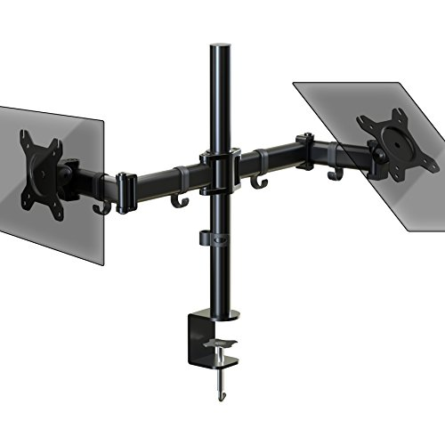 Duronic DM252 Dual PC Monitor Arm Stand Desk Mount Bracket Clamp Double/Twin |LCD |LED | Tilt and Swivel (Tilt ±45°|Swivel 180°|Rotate 360°)