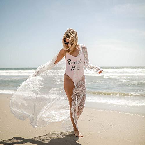 DFECVFGA Strand Badeanzug Abdeckung Ups Frauen Sommer Strand Tragen Tuniken Für Swim Cover Up Frauen Sexy Spitze Bodenlangen Abdeckung Up Kleid (Spitze Up Swim Cover)