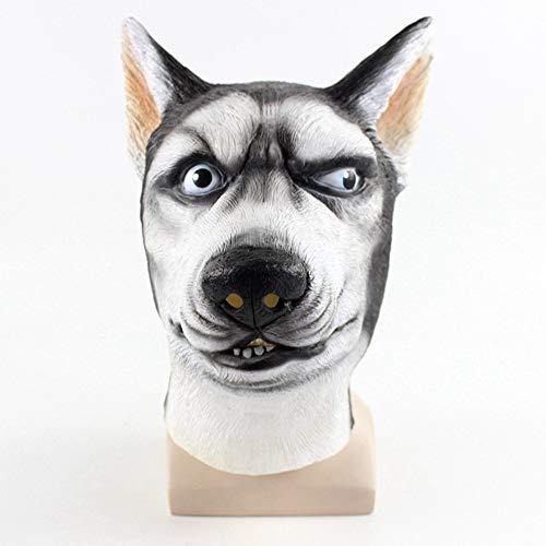 Kostüm Plus Party Animal - Sisit Latex Maske Cosplay Siberian Husky Dog Maske Creepy Animal Head Latex Maske Plus Lace Maske für Halloween Kostüm Party Dekoration für Kinder und Erwachsene geeignet