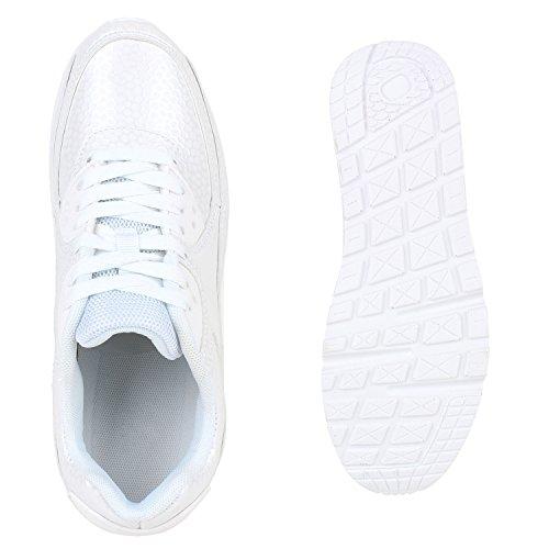 Stiefelparadies Trendige Unisex Schuhe Damen Herren Kinder Sportschuhe Metallic Camouflage Turnschuhe Blumen Sneaker Low Bunt Glitzer Muster Schnürer Flandell Weiss Total