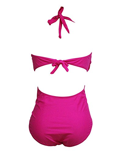 Donne Costume da bagno casual spa Tinta unita A Mano Due Pezzi Push Up Bikini Costumi Da Bagno Beachwear Swimsuit Rose