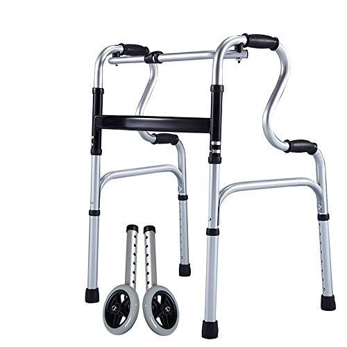 Qinnliuu Equipo de rehabilitación asistida Walker para Ancianos, polea/sin polea, Andador de reposabrazos de pie, aleación de Aluminio, Equipo médico geriátrico, Andador Plegable Ligero