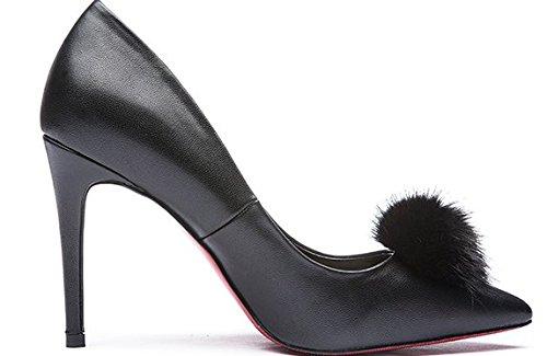 Lady hauts talons au printemps/Asakuchi lapin mode de chaussures talons pointes argent B