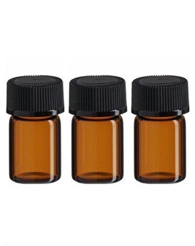 24(5/8DRAM-) 2ml Bernstein Glas ätherisches Öl Flasche mit Öffnung Reducer und Gap 5/8 Glas