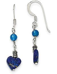 2feb07a67a76 Pendientes de plata de ley 925 con ágata azul de lapislázuli (largo  37 mm