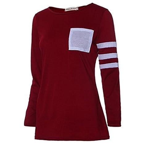 OverDose Women Long Sleeve Round Neck Splice Shirt Blouse Tops T Shirt