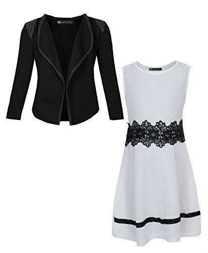 LotMart White Black 7-8 Y Girls Sleeveless Dress Bundle With Blazer Free Gift Pen Per parcel