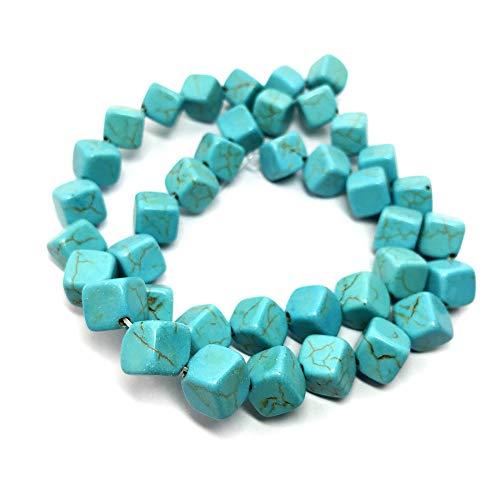 Thetastejewelry 8mm cube edge turchese howlite perline 38,1cm 38cm creazione di gioielli collana guarigione
