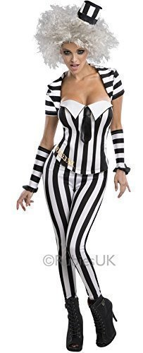 �ck offiziell lizenziert Sexy Beetlejuice Halloween Gespenst 1980s Jahre Film Kostüm Kleid Outfit UK 6-18 - Schwarz/weiß, Schwarz/weiß, 12-14 (Mini Me Kostüm Uk)