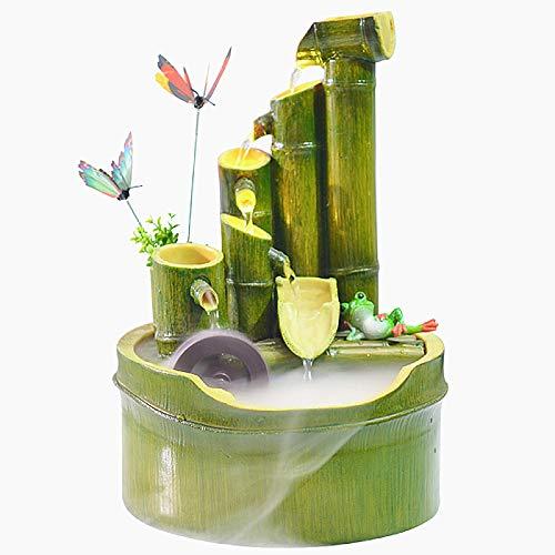 Harz Bambus Brunnen Wasserspiel Fließende Wohnzimmer Home Office Einrichtung Dekoration Brunnen Feng Shui,29cm
