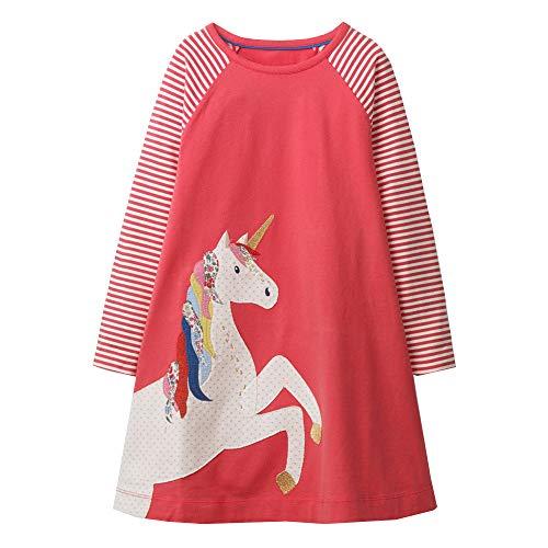 VIKITA Mädchen Sommer Herbst Streifen Baumwolle T-Shirt Kleid JM7659 7T