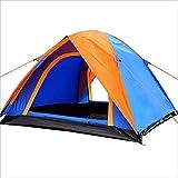Yzibei Haltbar Outdoor-Camping-Zelt, Camping-Zelt, Double Door Double Door Druckkleber, starker Regen, 3 Mann Zelt Orange/Blau