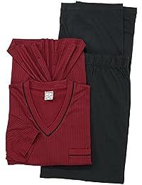 Adamo Pijama para hombre talla grande, color negro y burdeos