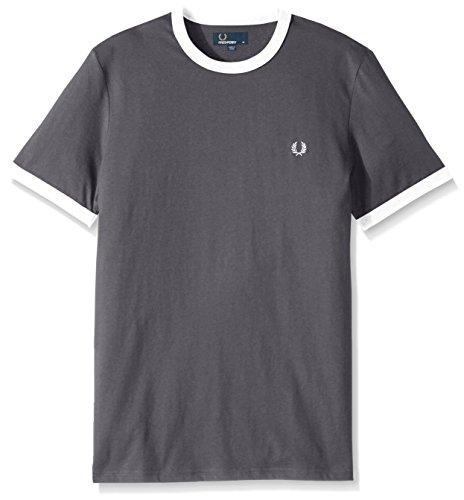 Fred Perry Herren runder Halsausschnitt Kontrast Ringer T-Shirt Holzkohle M