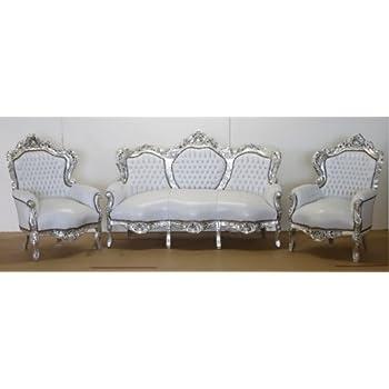 Casa Padrino Barock Sofa Garnitur Weiß Lederoptik/Silber + 2 Sessel   Wohnzimmer  Barock