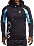 Leif Nelson Gym Herren Fitness Trainingsjacke Kapuzenjacke Sweatjacke für Training Slim Fit Männer Bodybuilder Trainingsshirt Weste Sportjacke Sportshirt Bekleidung Bodybuilding Hoodie LN8288
