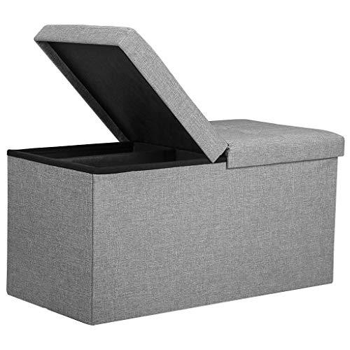 Rackaphile Sitzbank mit Stauraum, Aufbewahrungsbox Sitztruhe faltbar 80L, Halbdeckel Seitlich klappbar Max. Belastbarkeit 180 kg für Kleidung, Spielzeug, Bücher, 76 x 38 x 38 cm, grau