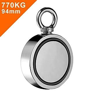 Wukong 770kg Doppelseitig Neodym Ösenmagnet,Super Stark Power Magnete Perfekt zum Magnetfischen und Bergung,Ø 94mm mit Öse Neodymium Topfmagnet
