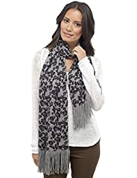 Ladies Leopard Print Scarf with Glitter Fibres
