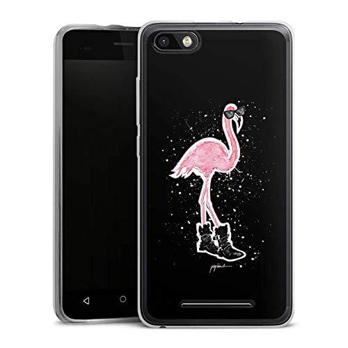 DeinDesign Silikon Hülle kompatibel mit Wiko Lenny 3 Case Schutzhülle Flamingo Sonnenbrille Shoes