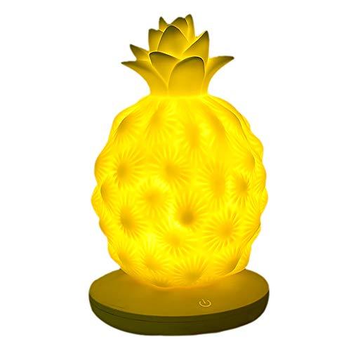 Ananas Silicone Lampe Luminosité Réglable Fruit LED Lampe De Table Veilleuse Enfants Chambre Cadeau (Jaune)