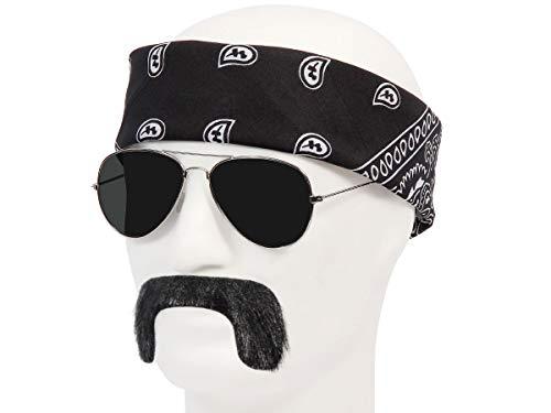 Alsino Karneval Set (Kv-207) Biker Bandit Kostüm Accessoire mit Pilotenbrille Schnurrbart und Bandana Schwarz