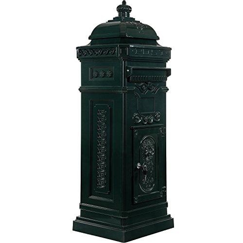 Maxstore Antiker englischer Standbriefkasten, rostfreies Aluminium, Höhe: 102,5 cm, Farbe: Grün, 3 Jahre Garantie