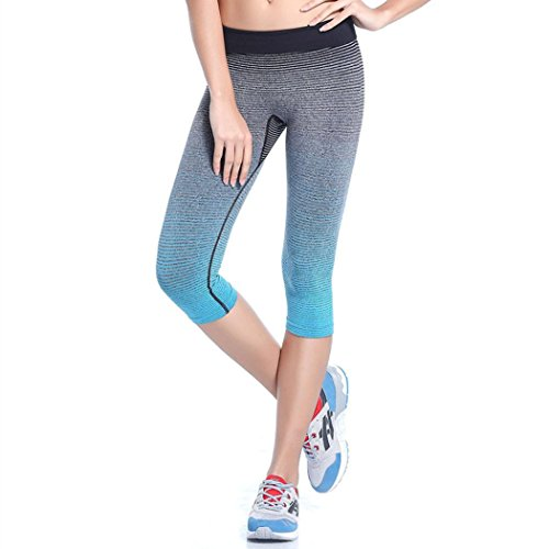 Fami Donne Gli sport Yoga Pantaloni Elastiche a compressione Collant Esecuzione di pantaloni (M, BU)