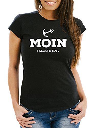 Neverless Damen T-Shirt Moin Hamburg Slim Fit Schwarz M
