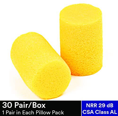 E-A-R Classic Earplugs, Pillow Paks, Uncorded, Foam, Yellow, 30 Pairs/Box - Lab Pak