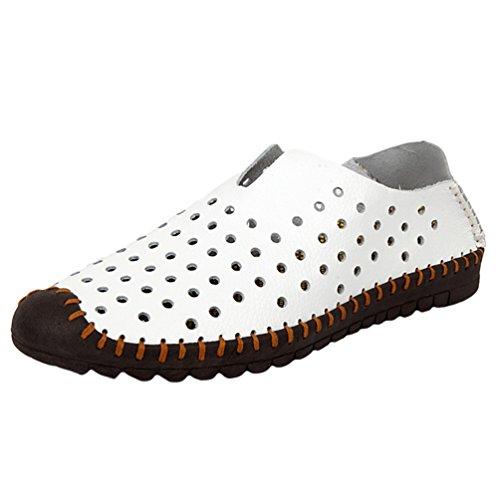 YiLianDa Herren Loafer Sneaker Slipper Freizeitschuhe Slip-On Weiß