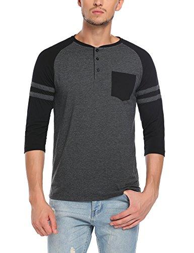 HOTOUCH Herren T-Shirt Slim Fit Basic T-Shirt mit Knopfleiste Henley Shirt Casual Shirt 3/4 Raglen-Ärmel Typ1_Dunkelgrau