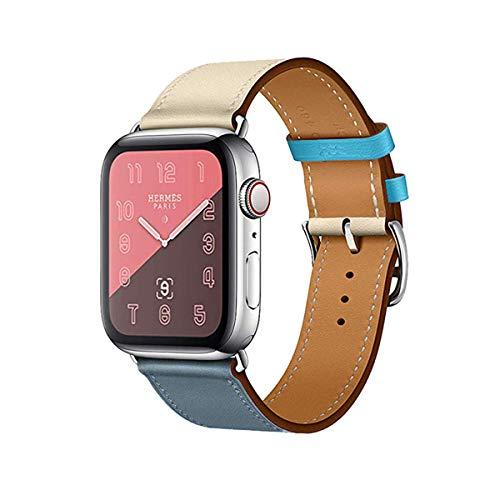 MroTech Armband 44mm 42mm Watch Band Lederarmband echtes Leder Uhrenarmband Ersatzen Armbänder für Smartwatch Serie 1/2 / 3/4 Nike+ Hermes&Edition Single Tour Loop 42/44 mm hellblau Blau Craie