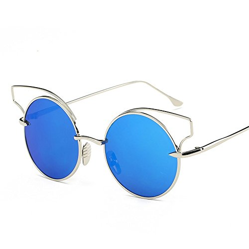 JUNHONGZHANG Sonnenbrille Mode Sonnenbrille Metallische Gläser Framing Damen Gläser, Silbernen Rahmen Blau Quecksilber